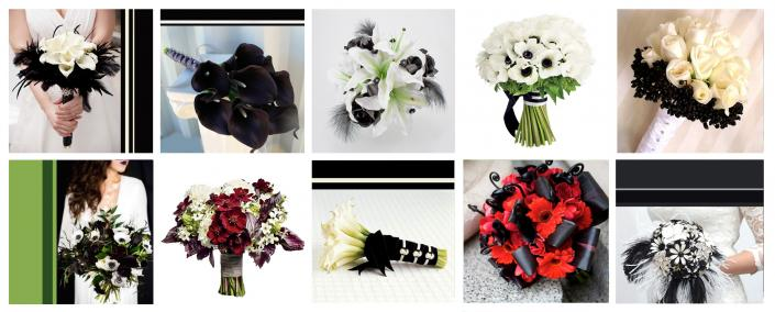 Black and White Bouquets - Wedding Flowers