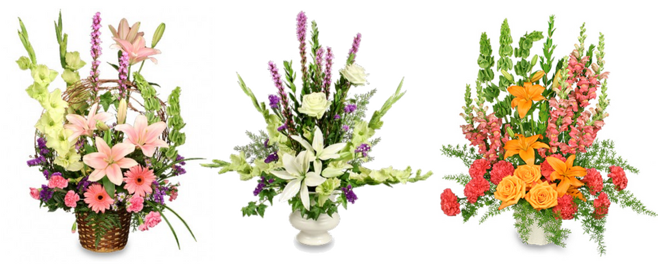 Three funeral flower arrangments