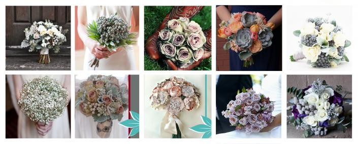 Grey and Silver Bouquets
