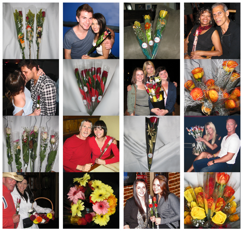 Collage of clients with flowers